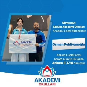 Etimesgut Çözüm Akademi Okulları Öğrencimiz Osman, Karate Kumite 66 kg'da Ankara İl 3.'sü