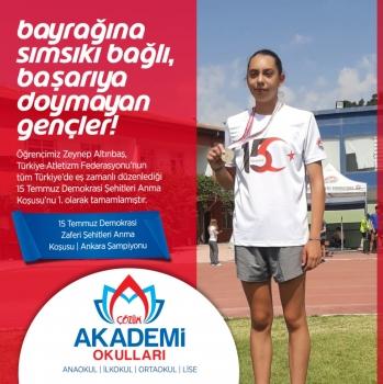 Öğrencimiz Zeynep Altınbaş 15 Temmuz 15 Temmuz Demokrasi Şehitleri Anma Koşusu'nda Ankara Birincisi!